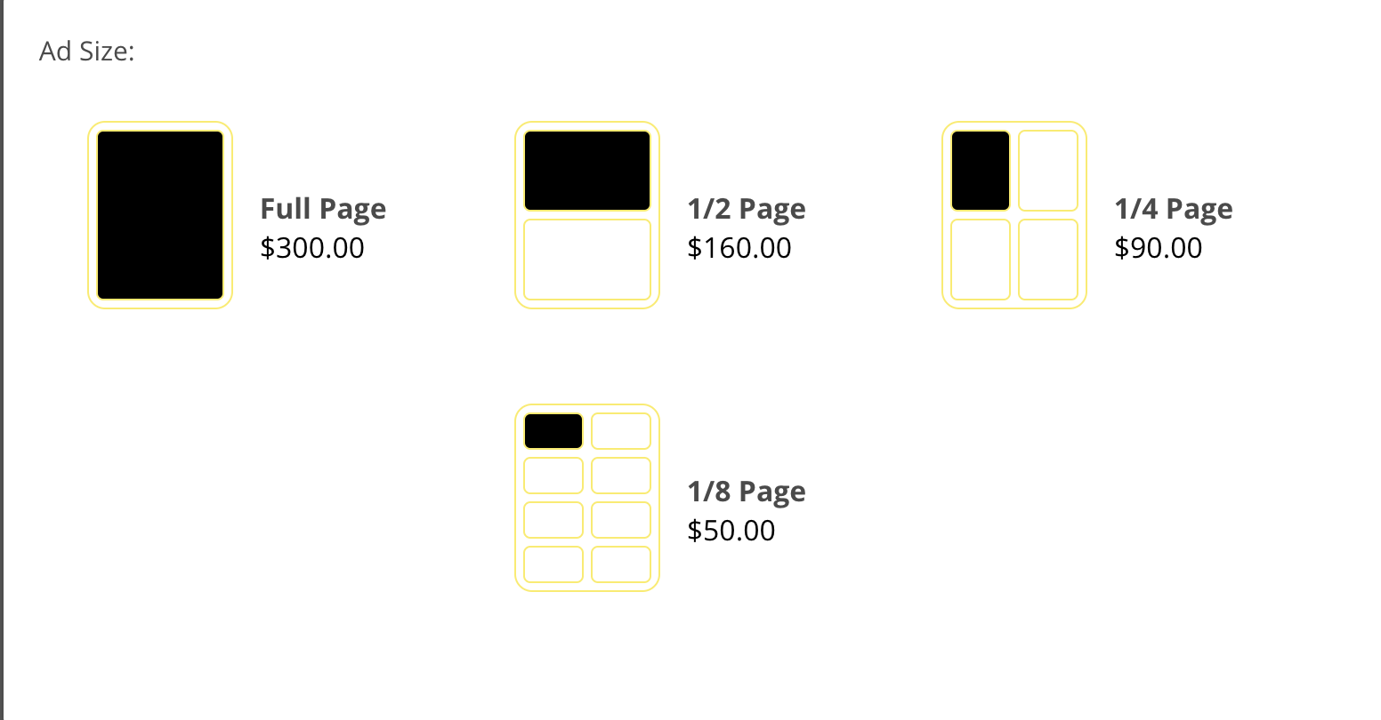 Senior yearbook page sizes