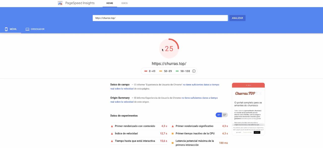 page speed insights dados de velocidade de carga