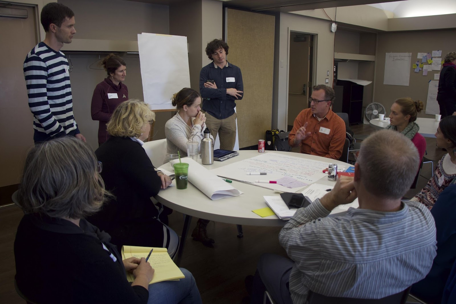 Photo of a break-out group of restoration practitioners talk to a group of social scientists about the issues they face.