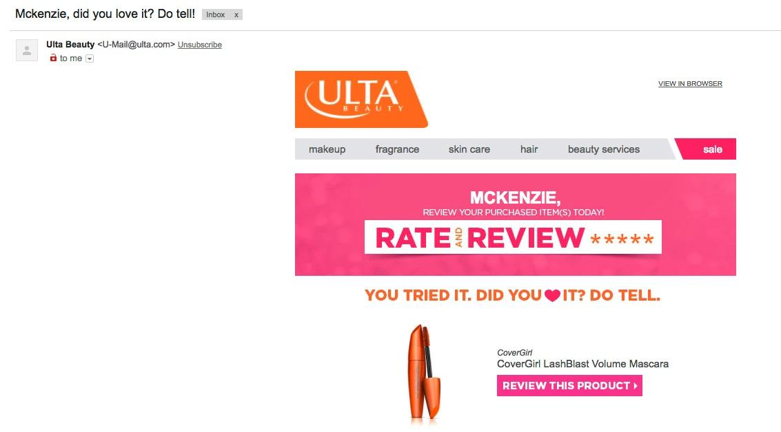 This example from ULTA not only asks a question to the reader but is, again, personalizing it with the reader's name.