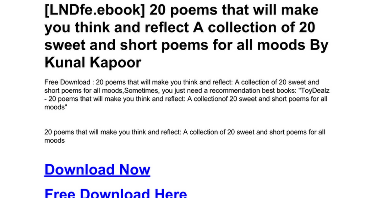 20 Poems That Will Make You Think And Reflect A Collection Of 20