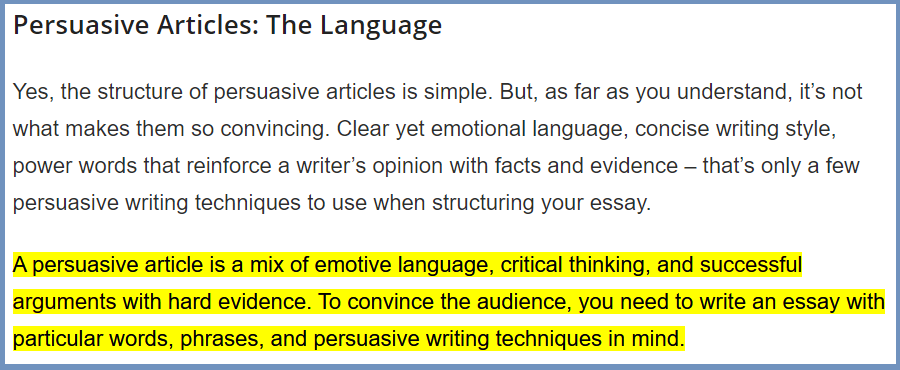 Persuasive Articles:The Language