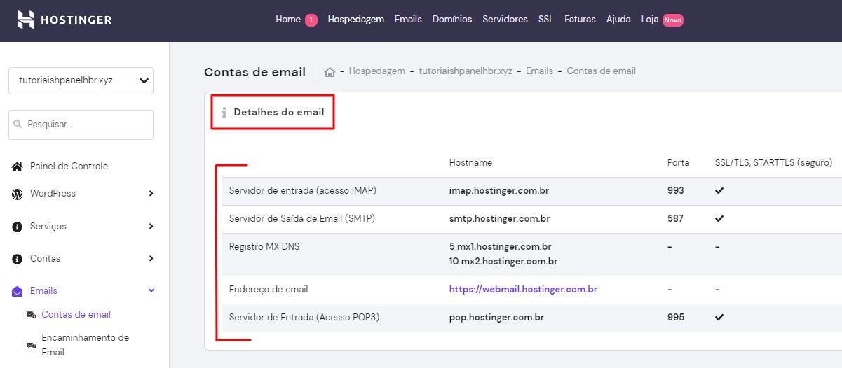 detalhes de IMAP e SMTP de email no hpanel da Hostinger