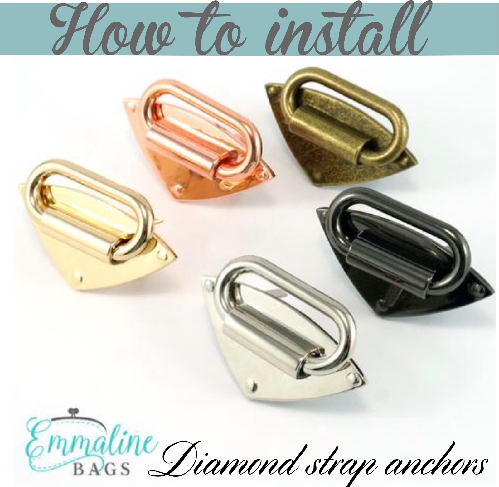 How to install our Emmaline Bags Diamond Strap Anchors in handmade Bags.