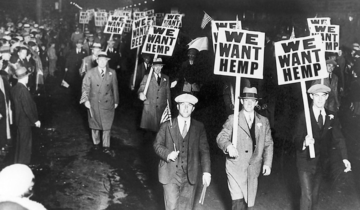 men holding we want hemp signs an update to hemp prohibition laws