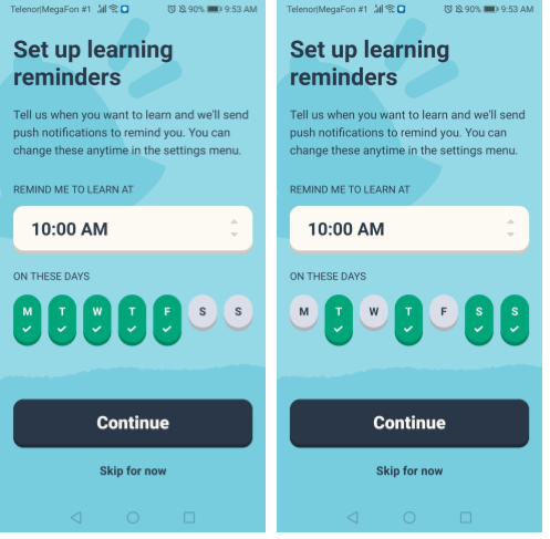 Memrise App User Onboarding - Push Notifications Opt-In