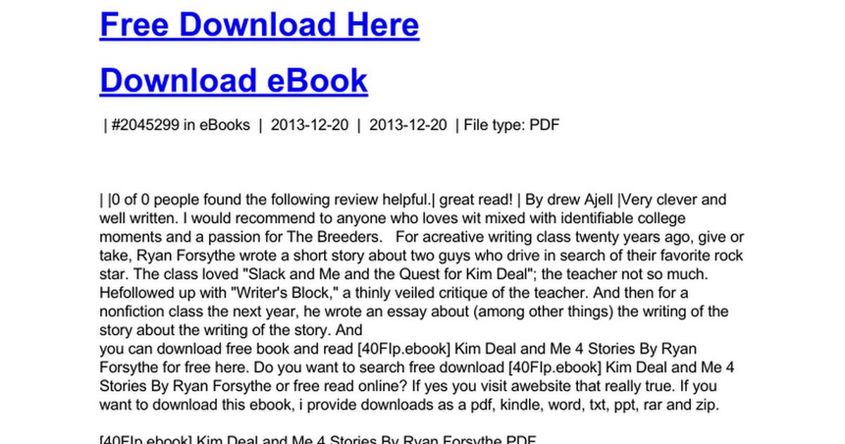 Kim deal and me 4 storiesc google docs fandeluxe Gallery