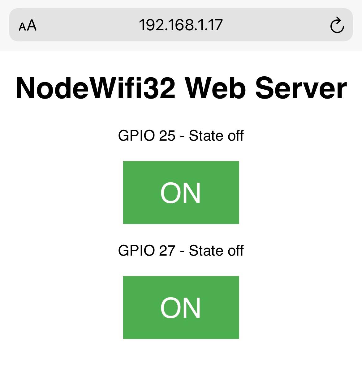 Địa chỉ IP của Node WIfi 32 Web Server