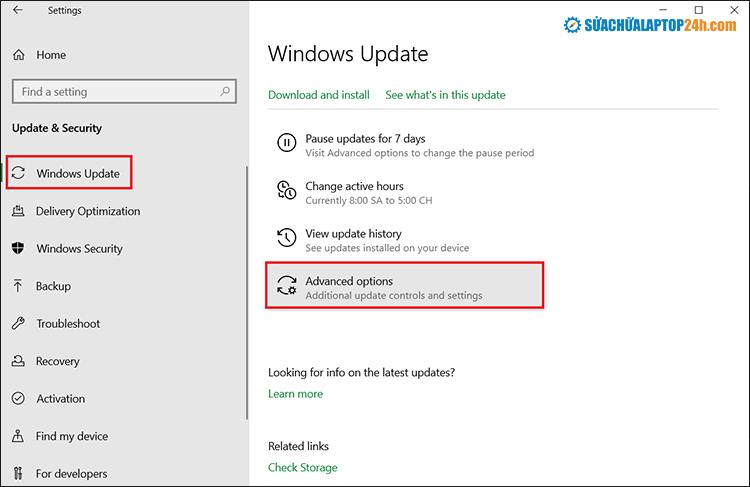 Chọn Windows và kéo xuống tìm chọn Advanced Options