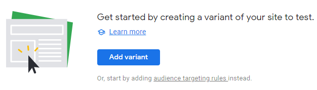 Creating a new variant in Google Optimize