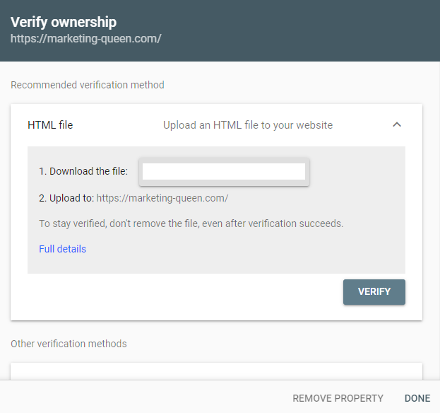 Verify ownership screen of Google Search Console