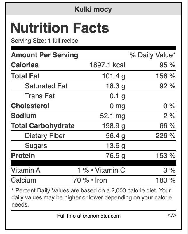 Wartości odżywcze - kulki mocy.