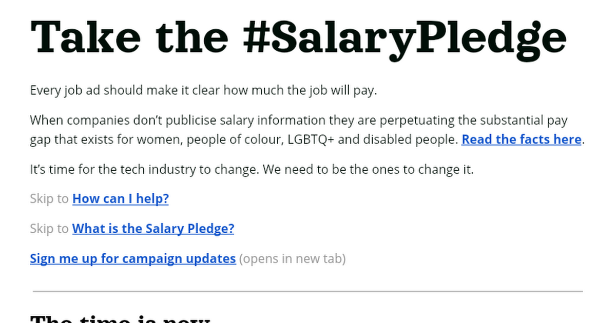 An invitation to join the campaign | #SalaryPledge