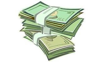 [Image is drawing of a stack of three wads of green bills.]