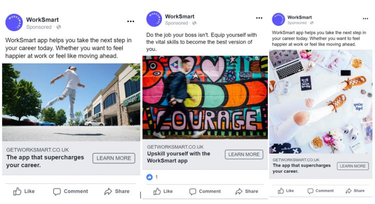 Facebook ads to recruit young core workers