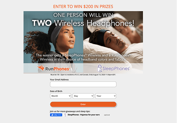 Flight Media, giveaway, landing page example