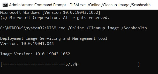 DISM command line for detecting corrupt files