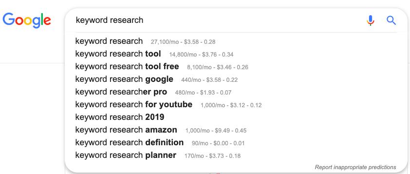 google autosuggest keywords