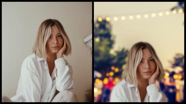 antes e depois da foto de uma mulher branca sendo que uma foi editada com a ferramenta Filtro do AirBrush