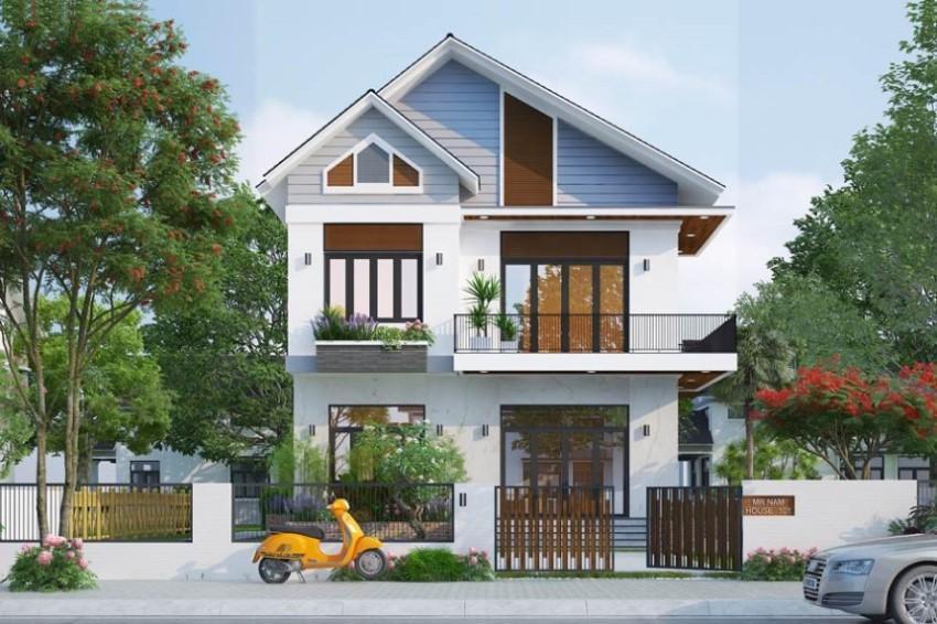 Thiết kế nhà 2 tầng với mái thái giật cấp sở hữu vẻ đẹp hiện đại
