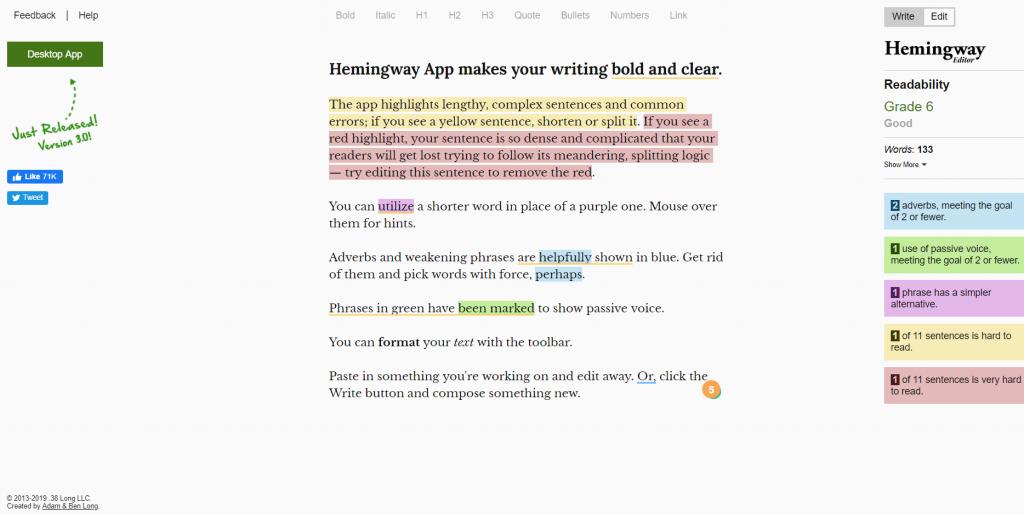 hemingway editing blogging tool
