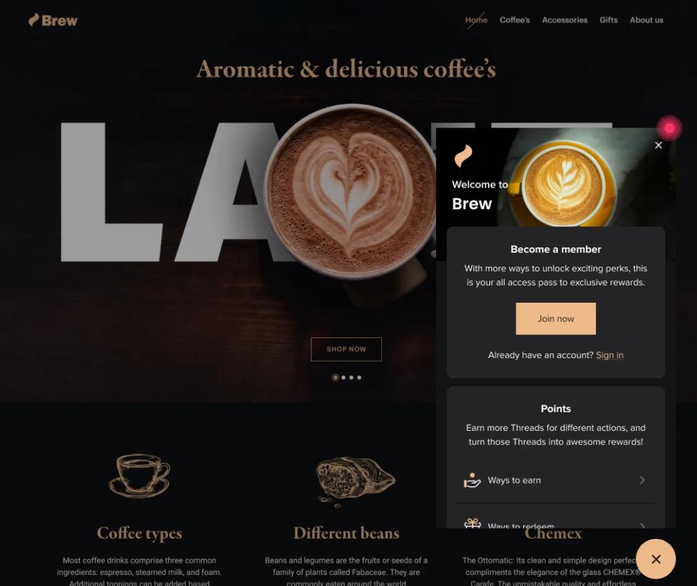 Smile's rewards panel popup promoting a coffee shop's loyalty program