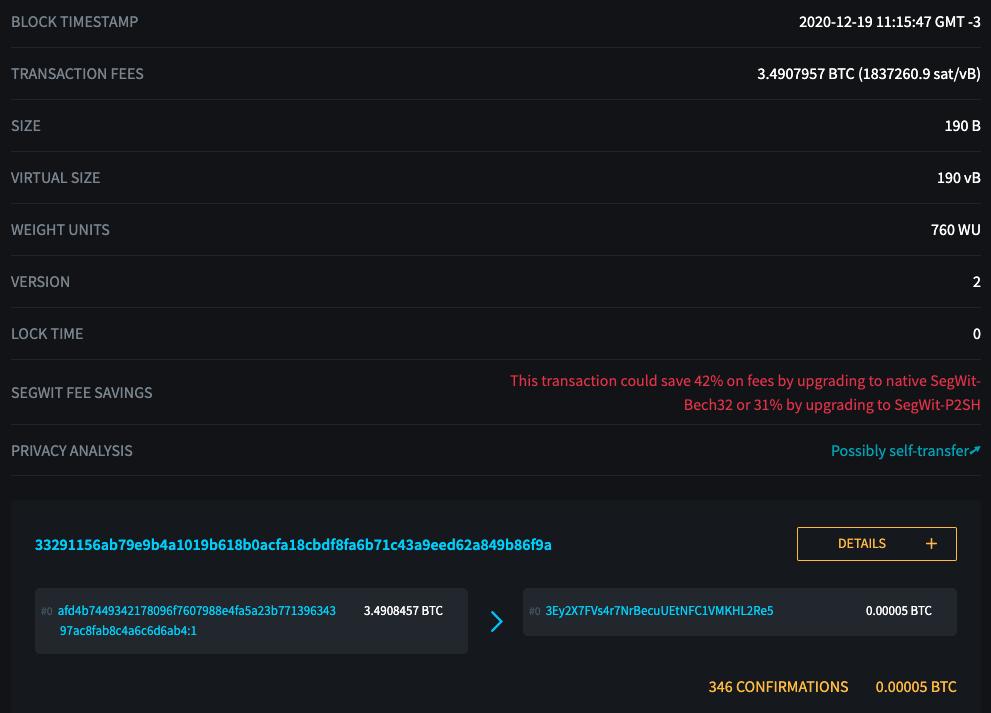 Transação no explorador de blocos da Blockstream