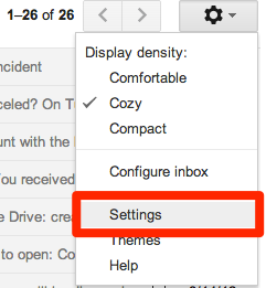 Google Mail settings tab with the Settings option highlghted