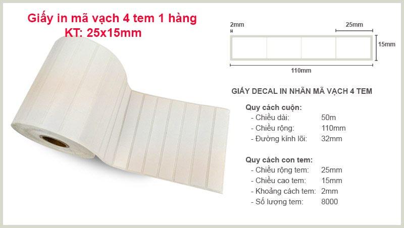 Thông số chi tiết về giấy in mã vạch 4 tem kt: 25x15mm