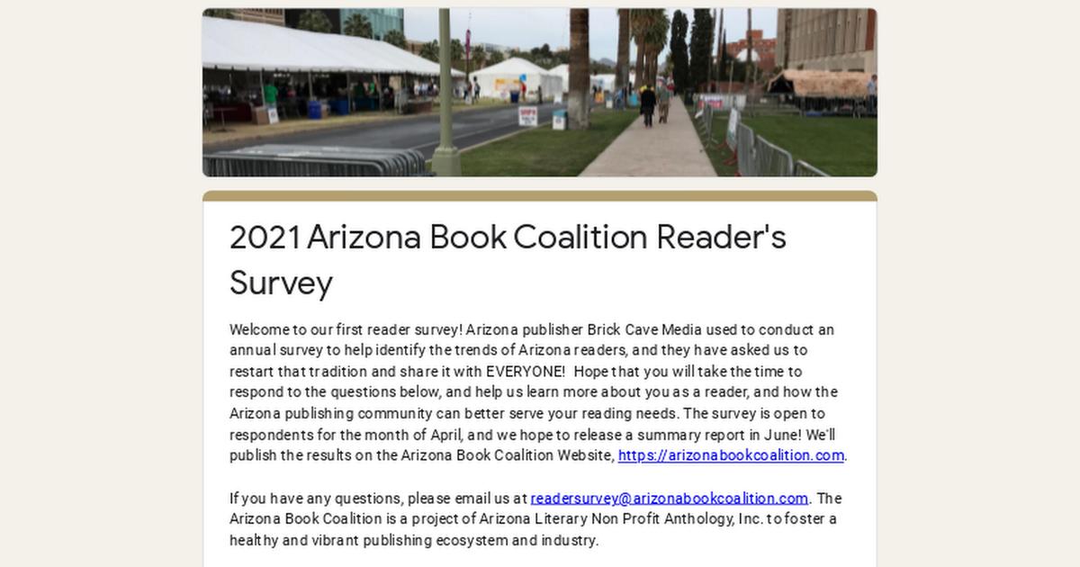 2021 Arizona Book Coalition Reader's Survey