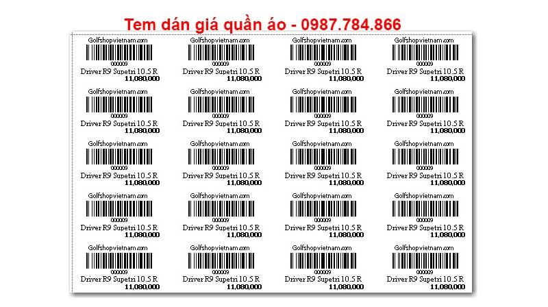 Giấy in mã vạch 4 tem được ứng dụng làm tem dán giá quần áo