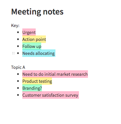 Colour coded meeting notes