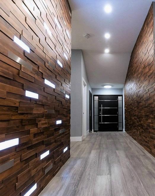 Wood Hallway Wall Paneling