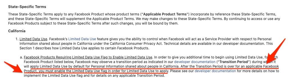 Facebook CCPA terms