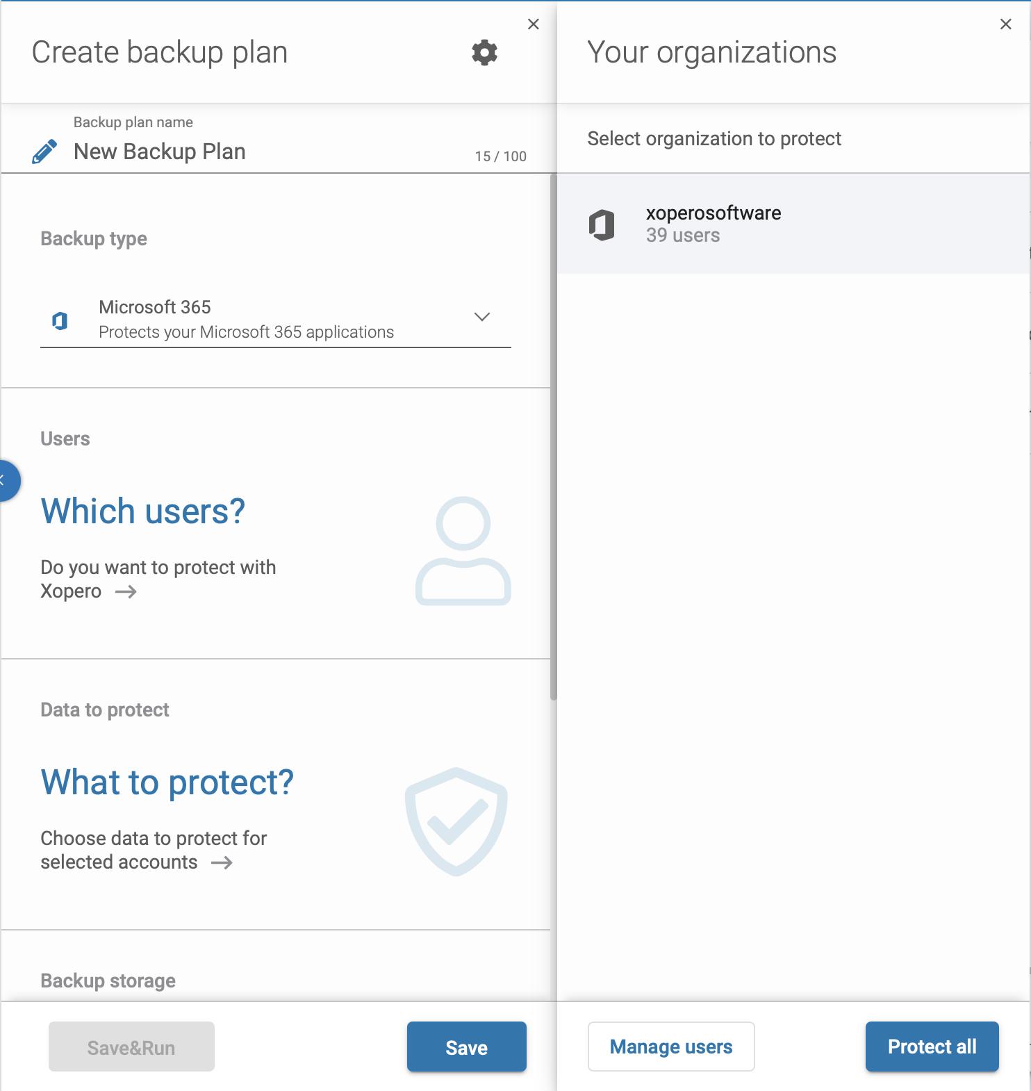 Microsoft 365 backup - select your organization