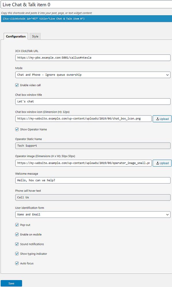 3CX Live Chat and Talk plugin configuration on WordPress.