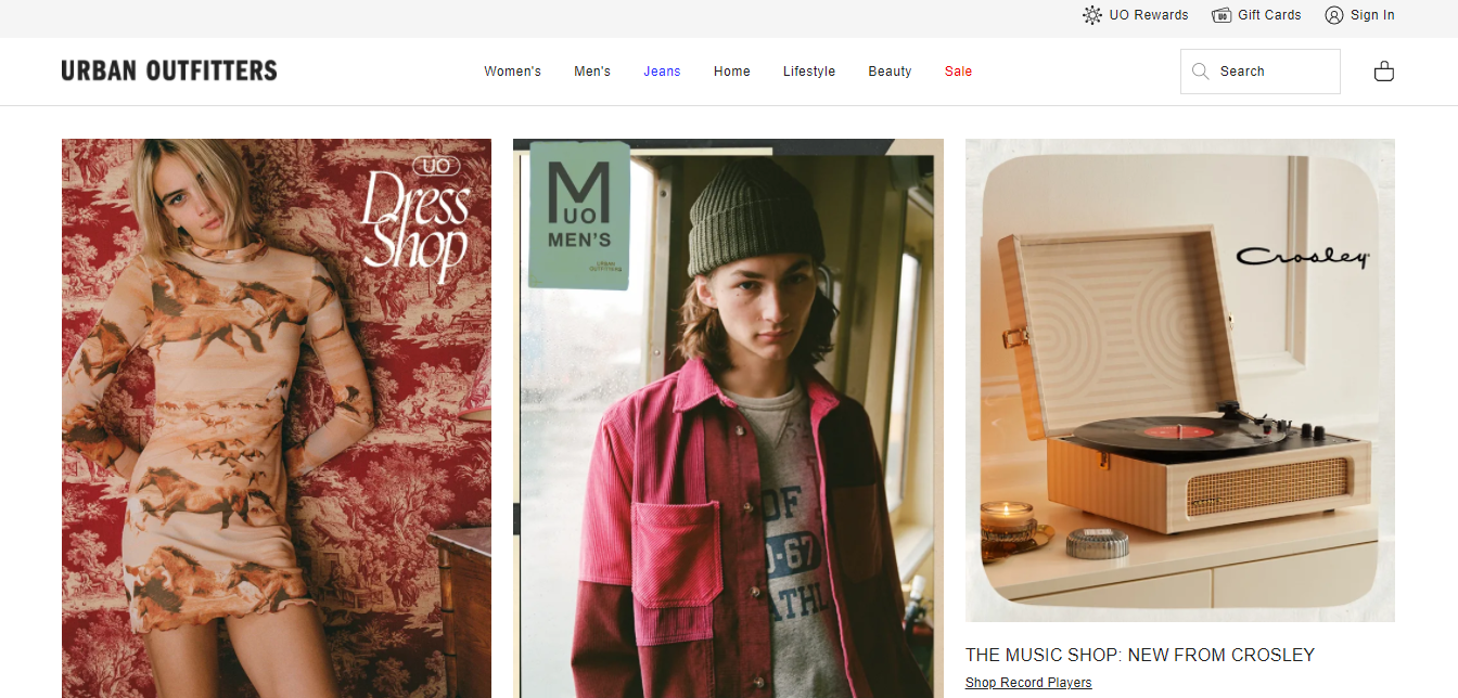 Screenshot of Urban Outfitters' homepage to illustrate online visual merchandising