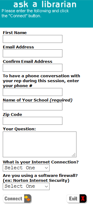 Form displaying required information to ask a question of a 24 hour librarian.