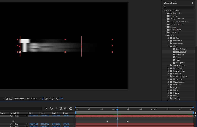 Bullet train animation preset