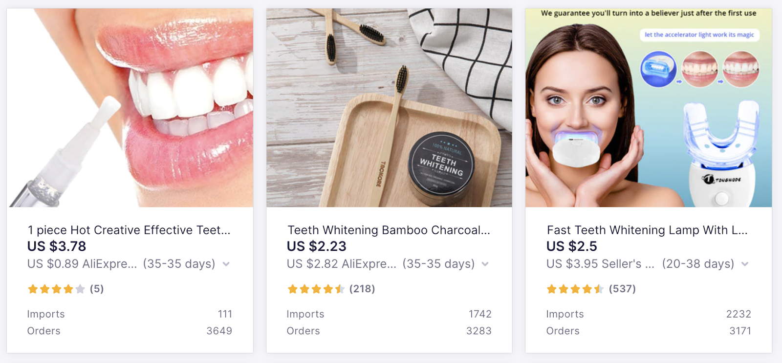 High-Demand Items on Oberlo: Teeth Whitening Products