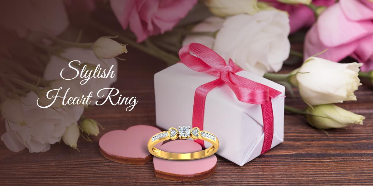stylish heart shaped ring