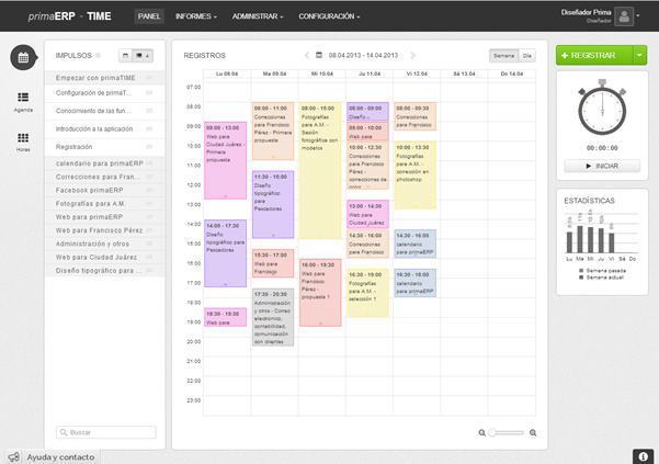 Panel del calendario primaERP TIME TRACKING.