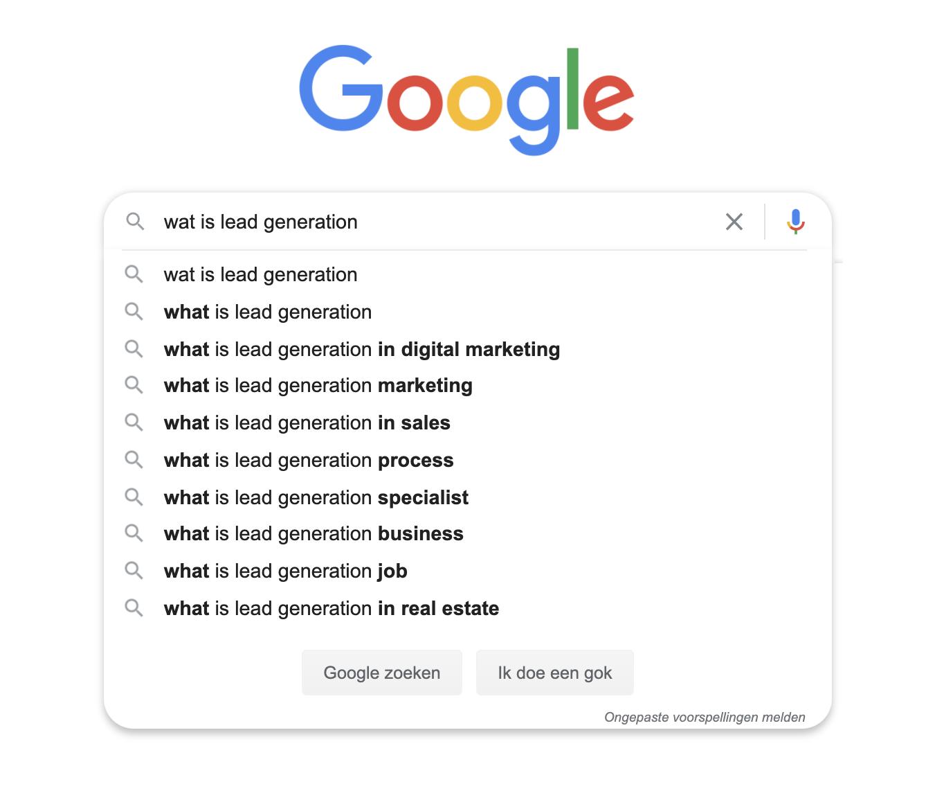 lead generation google zoekresultaten