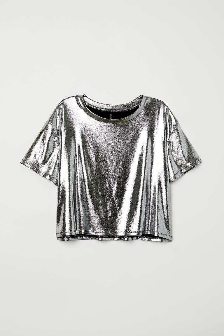 Top o metalicznym połysku - Srebrzysty - ONA | H&M PL 4