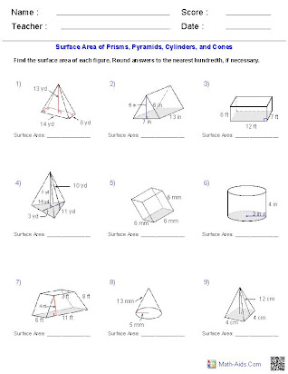 Volume and surface area of prisms homework