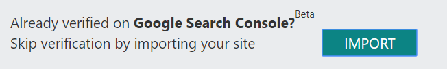 Screenshot of option to use Google Search Console to skip Bing Webmaster Tools verification.