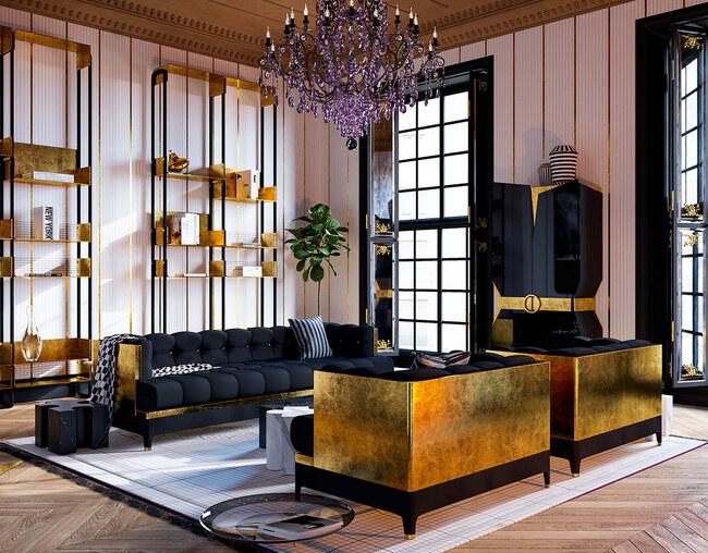Cặp bàn cà phê độc đáo bằng đá cẩm thạch với hai màu đối lập đen và trắng nằm chính giữa phòng khách cùng bộ ghế và tủ dát vàng 24k.