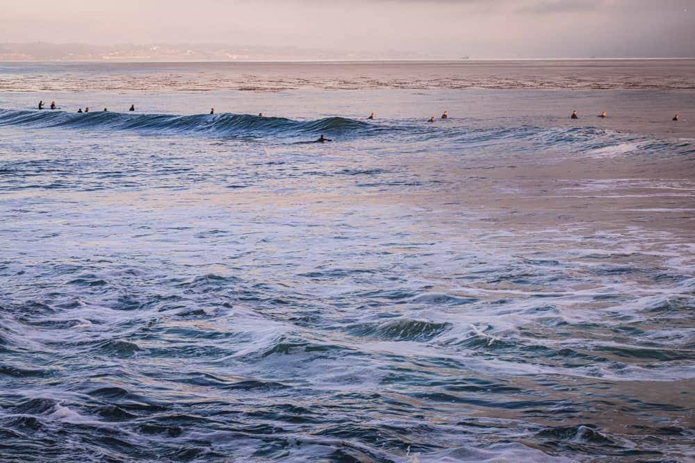 Surfers out on the line up in Pleasure Point, Santa Cruz