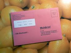 Briefwahl-Umschlag auf Zitronen.