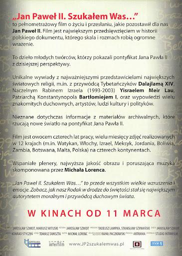 Tył ulotki filmu 'Jan Paweł II. Szukałem Was...'